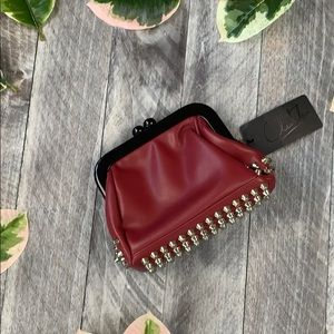 Red Clutch purse with metal studs